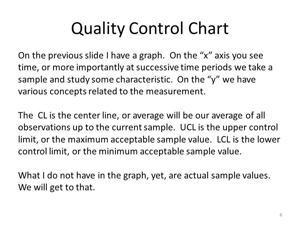 Quality Control Chart 6 On the previous slide I have a graph.