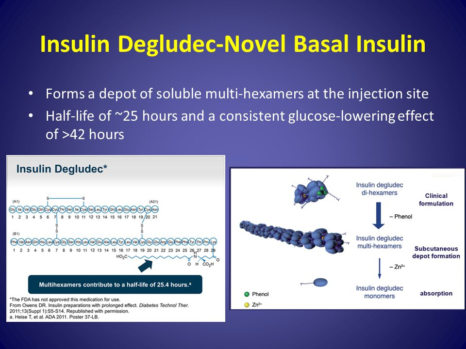 Insulin Degludec-Novel Basal Insulin Forms a depot of soluble multi-hexamers at the injection site Half-life of ~25 hours and a consistent glucose-low