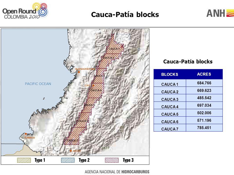 Cauca-Patía blocks BLOCKSACRES CAUCA 1 684.766 CAUCA 2 669.623 CAUCA 3 485.542 CAUCA 4 697.034 CAUCA 5 502.006 CAUCA 6 571.196 CAUCA 7 785.451