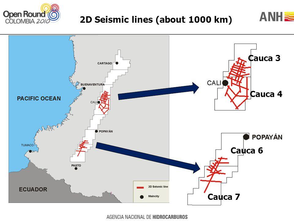 2D Seismic lines (about 1000 km) Cauca 3 Cauca 4 Cauca 6 Cauca 7