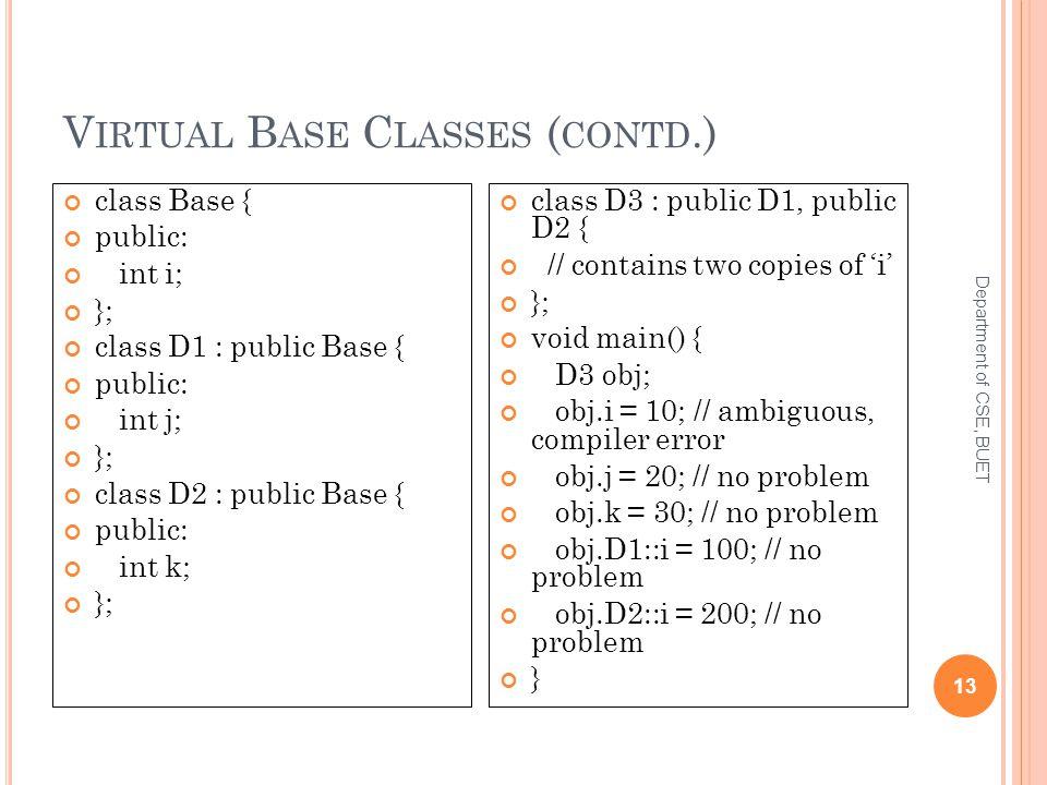 V IRTUAL B ASE C LASSES ( CONTD.) Department of CSE, BUET 13 class Base { public: int i; }; class D1 : public Base { public: int j; }; class D2 : public Base { public: int k; }; class D3 : public D1, public D2 { // contains two copies of 'i' }; void main() { D3 obj; obj.i = 10; // ambiguous, compiler error obj.j = 20; // no problem obj.k = 30; // no problem obj.D1::i = 100; // no problem obj.D2::i = 200; // no problem }