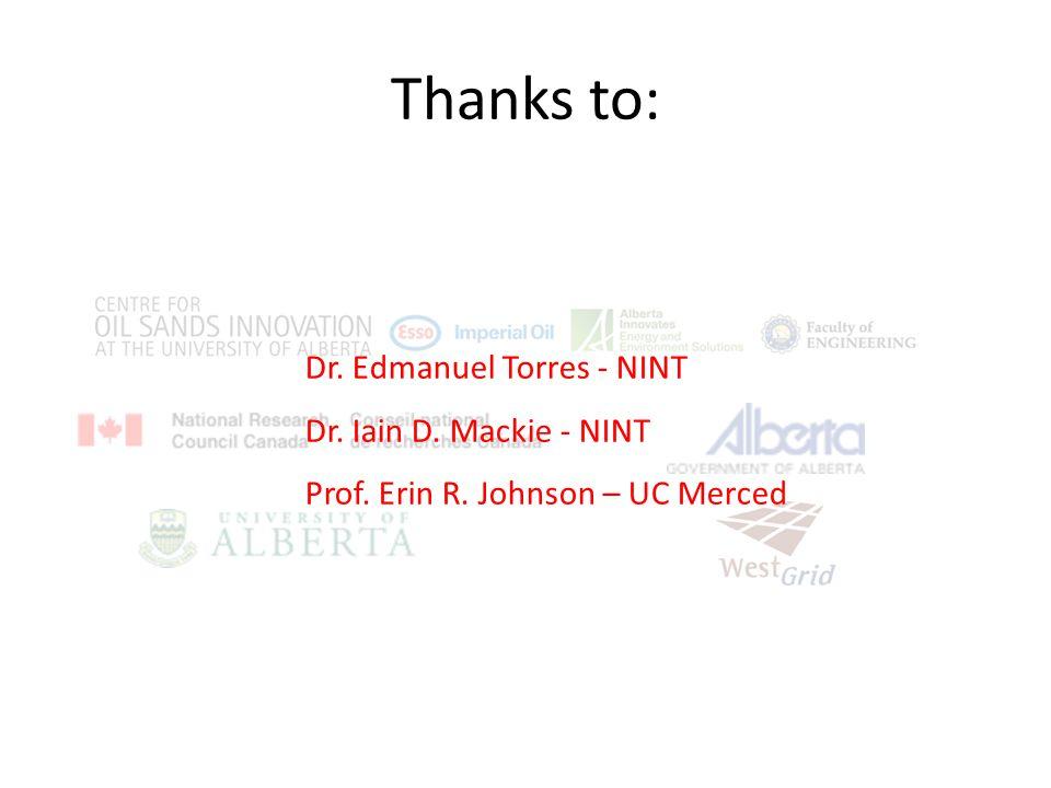 Thanks to: Dr. Edmanuel Torres - NINT Dr. Iain D. Mackie - NINT Prof. Erin R. Johnson – UC Merced