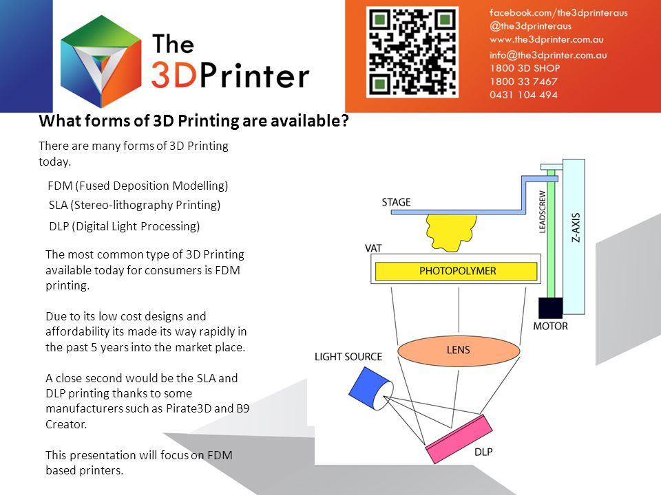 What forms of 3D Printing are available. There are many forms of 3D Printing today.