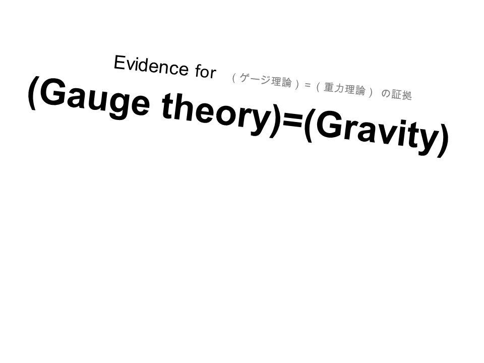 (ゲージ理論)=(重力理論) の証拠 (Gauge theory)=(Gravity) Evidence for