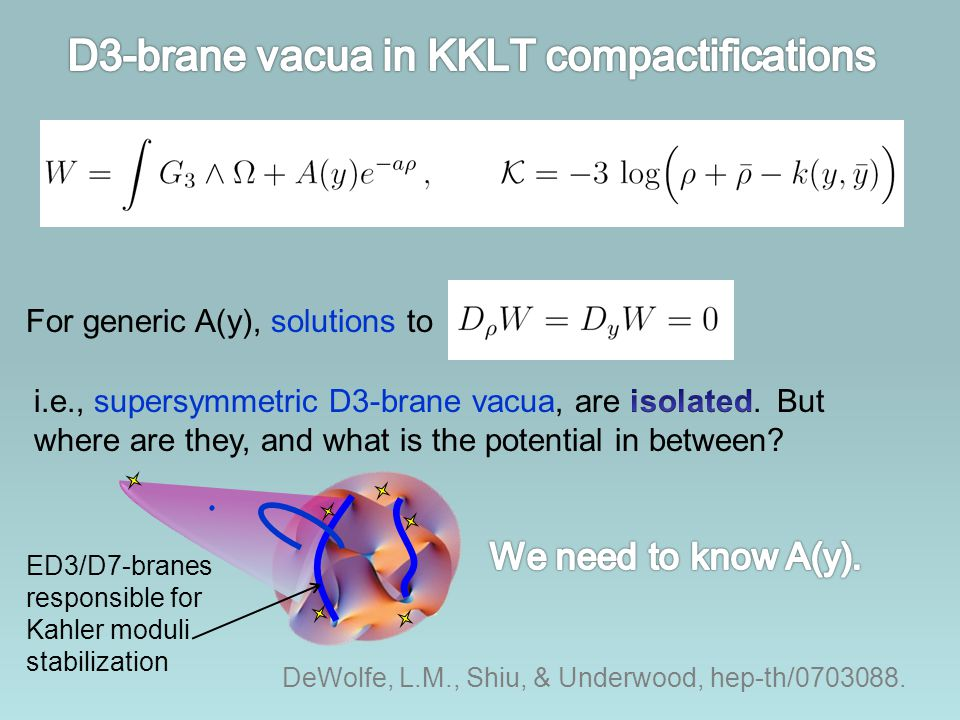 ED3/D7-branes responsible for Kahler moduli stabilization DeWolfe, L.M., Shiu, & Underwood, hep-th/0703088. For generic A(y), solutions to