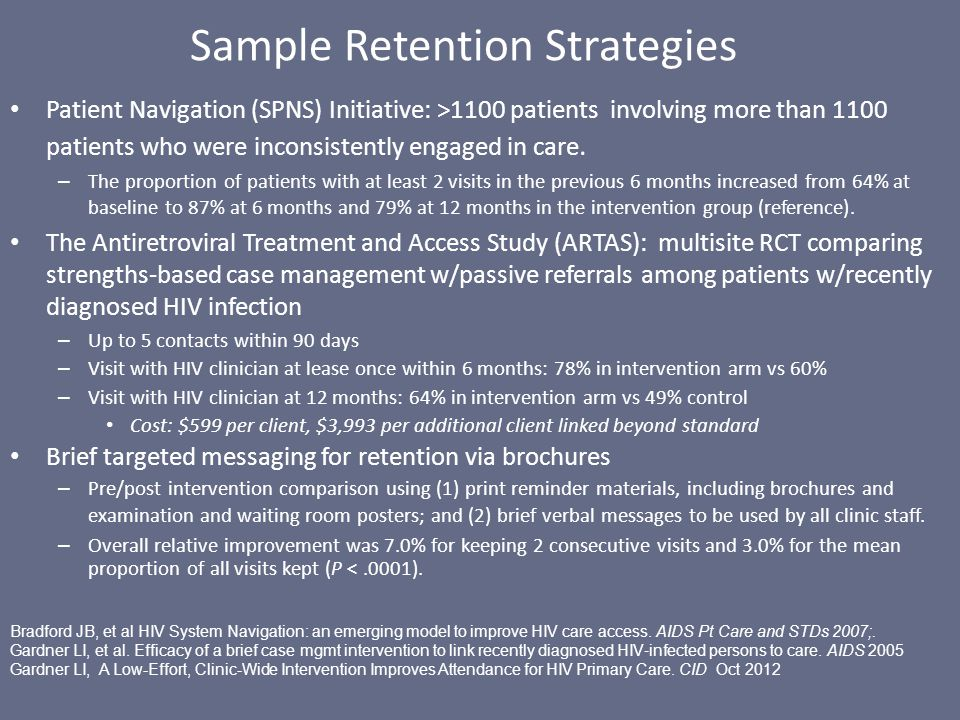 Sample Retention Strategies Patient Navigation (SPNS) Initiative: >1100 patients involving more than 1100 patients who were inconsistently engaged in