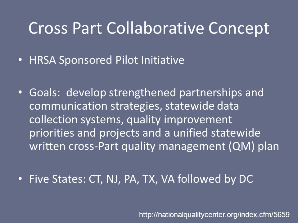 Cross Part Collaborative Concept HRSA Sponsored Pilot Initiative Goals: develop strengthened partnerships and communication strategies, statewide data collection systems, quality improvement priorities and projects and a unified statewide written cross-Part quality management (QM) plan Five States: CT, NJ, PA, TX, VA followed by DC http://nationalqualitycenter.org/index.cfm/5659