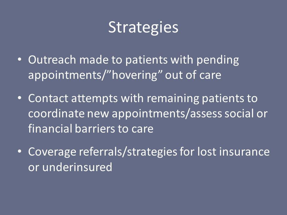 """Outreach made to patients with pending appointments/""""hovering"""" out of care Contact attempts with remaining patients to coordinate new appointments/ass"""