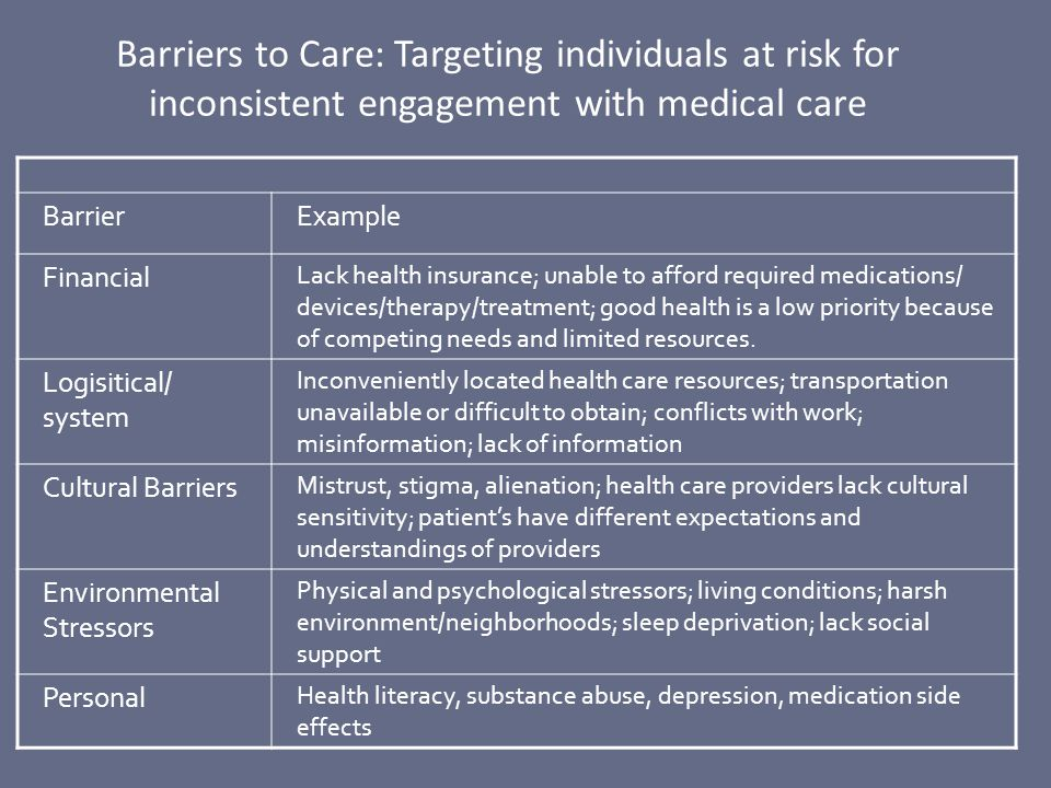 Barriers to Care: Targeting individuals at risk for inconsistent engagement with medical care BarrierExample Financial Lack health insurance; unable t
