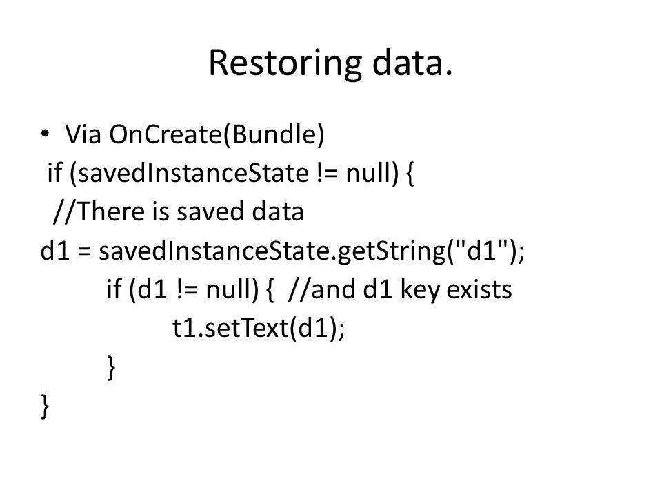 Restoring data.