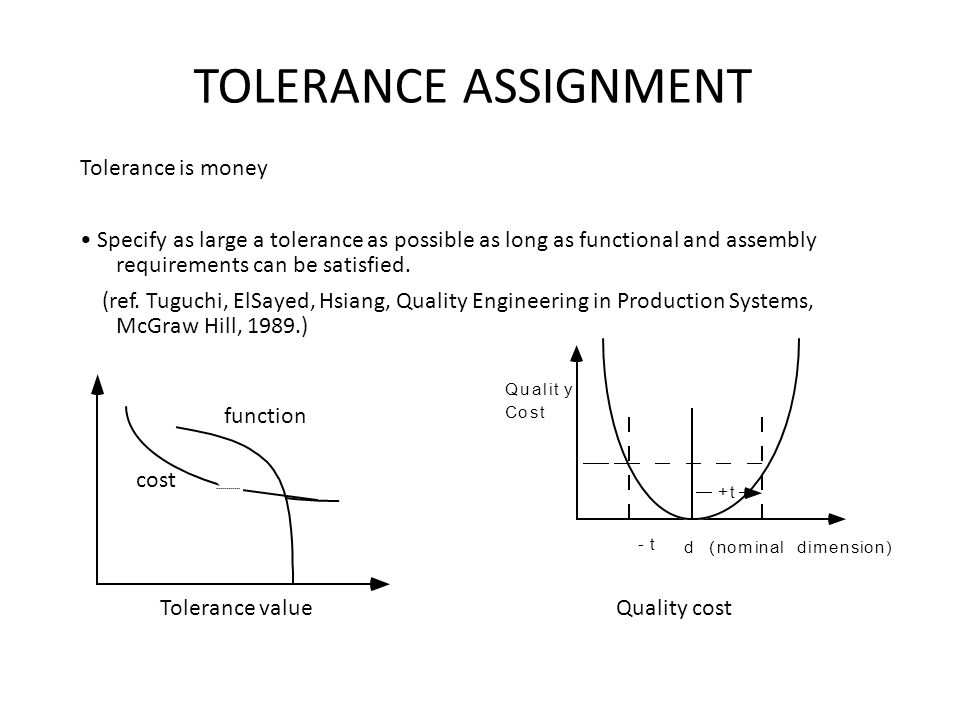 TOLERANCE ASSIGNMENT Tolerance is money Specify as large a tolerance as possible as long as functional and assembly requirements can be satisfied. (re