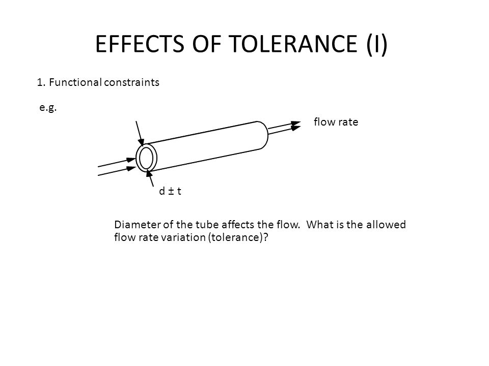 EFFECTS OF TOLERANCE (I) 1. Functional constraints e.g. d ± t flow rate Diameter of the tube affects the flow. What is the allowed flow rate variation