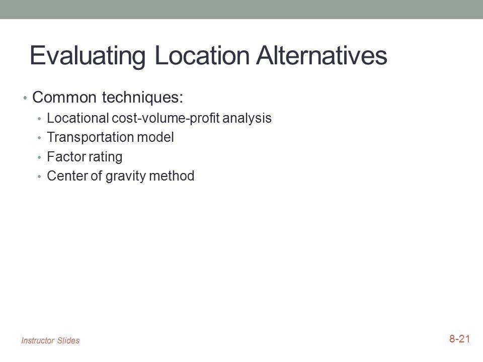 Evaluating Location Alternatives Common techniques: Locational cost-volume-profit analysis Transportation model Factor rating Center of gravity method