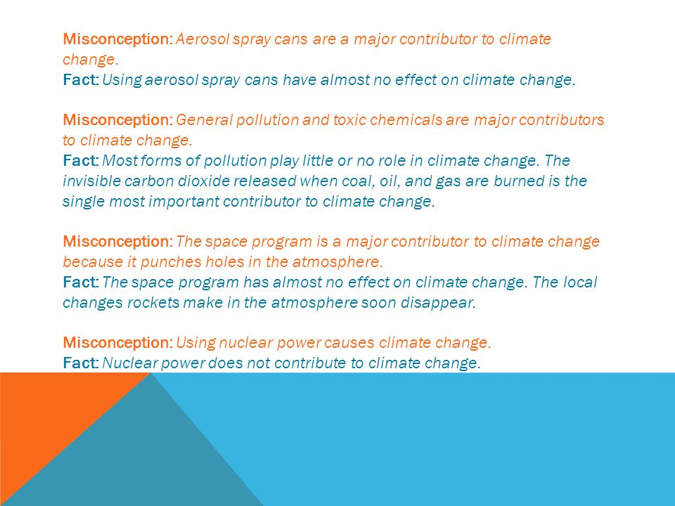 Misconception: Aerosol spray cans are a major contributor to climate change.