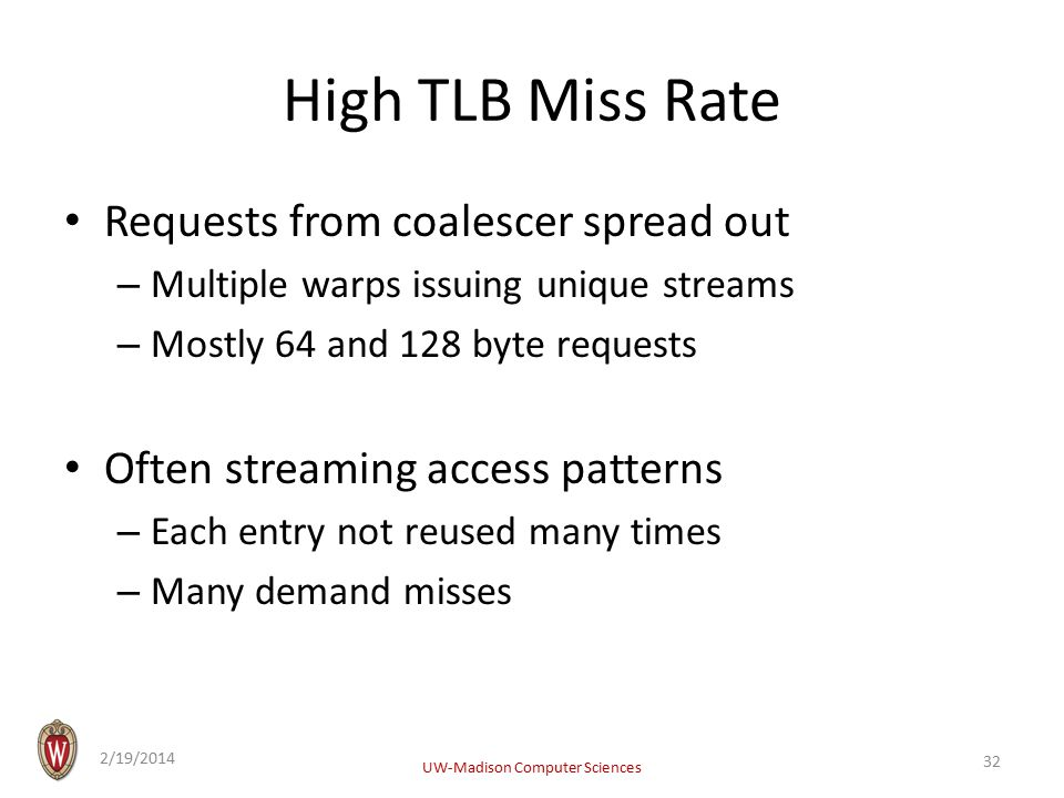 High TLB Miss Rate Requests from coalescer spread out – Multiple warps issuing unique streams – Mostly 64 and 128 byte requests Often streaming access patterns – Each entry not reused many times – Many demand misses 2/19/2014 UW-Madison Computer Sciences 32