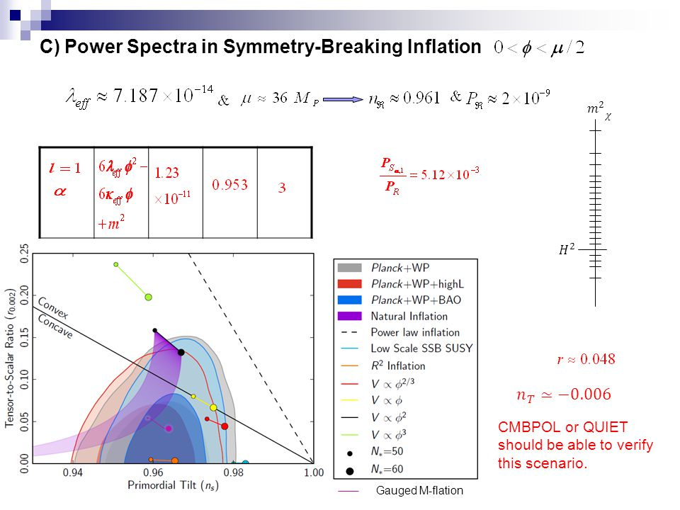 C) Power Spectra in Symmetry-Breaking Inflation CMBPOL or QUIET should be able to verify this scenario.