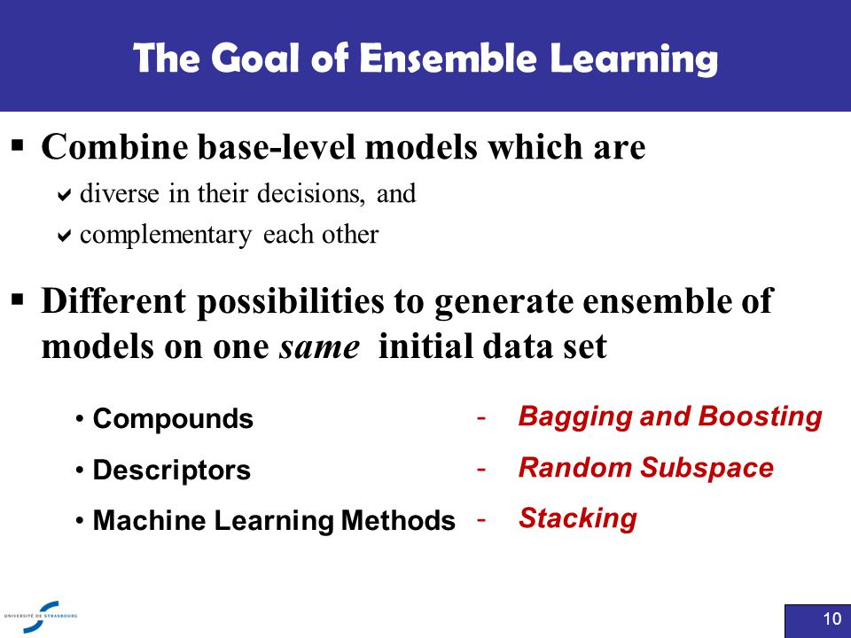 The Goal of Ensemble Learning  Combine base-level models which are  diverse in their decisions, and  complementary each other 10 Compounds Descript