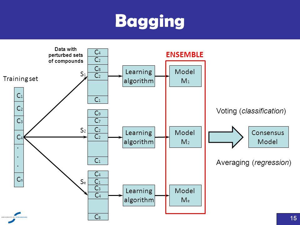 Bagging 15 Training set...... C1C1 C2C2 C3C3 C4C4 CnCn Learning algorithm Model M 1 Learning algorithm Model M 2 Learning algorithm Model M e ENSEMBLE