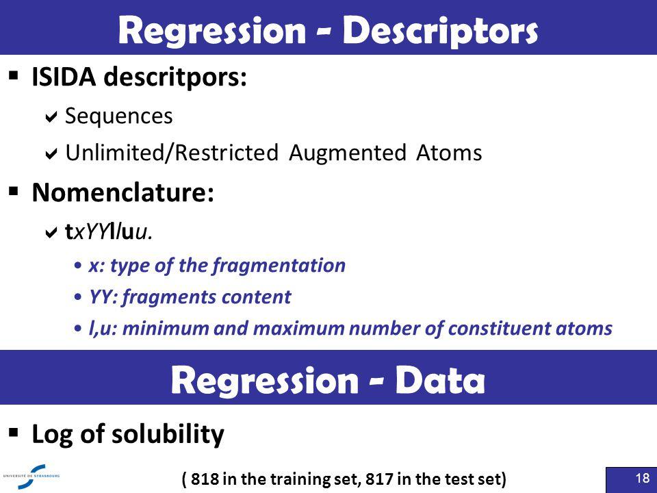 Regression - Descriptors  ISIDA descritpors:  Sequences  Unlimited/Restricted Augmented Atoms  Nomenclature:  txYYlluu. x: type of the fragmentat