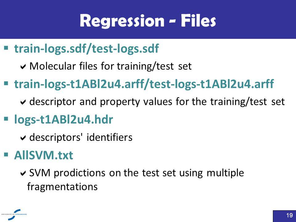 Regression - Files  train-logs.sdf/test-logs.sdf  Molecular files for training/test set  train-logs-t1ABl2u4.arff/test-logs-t1ABl2u4.arff  descrip