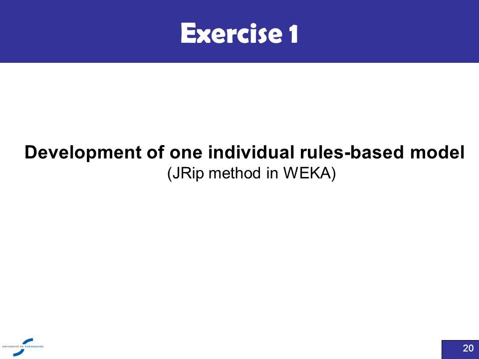 Exercise 1 20 Development of one individual rules-based model (JRip method in WEKA)