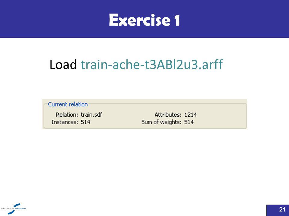 Exercise 1 21 Load train-ache-t3ABl2u3.arff