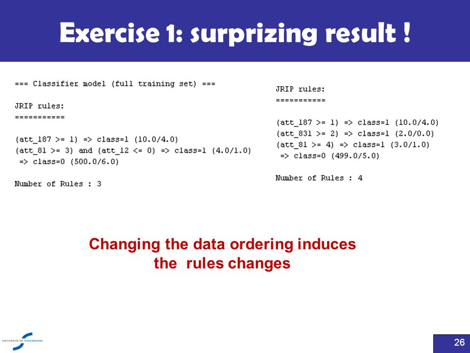 Exercise 1: surprizing result ! 26 Changing the data ordering induces the rules changes