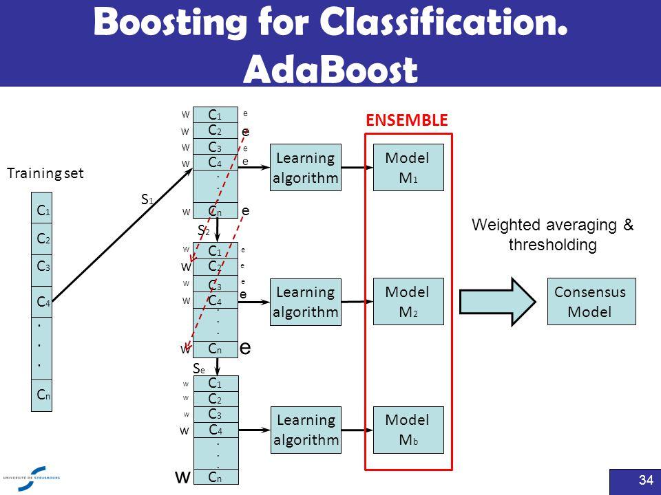 Boosting for Classification. AdaBoost 34 Training set...... C1C1 C2C2 C3C3 C4C4 CnCn Learning algorithm Model M 1 Learning algorithm Model M 2 Learnin