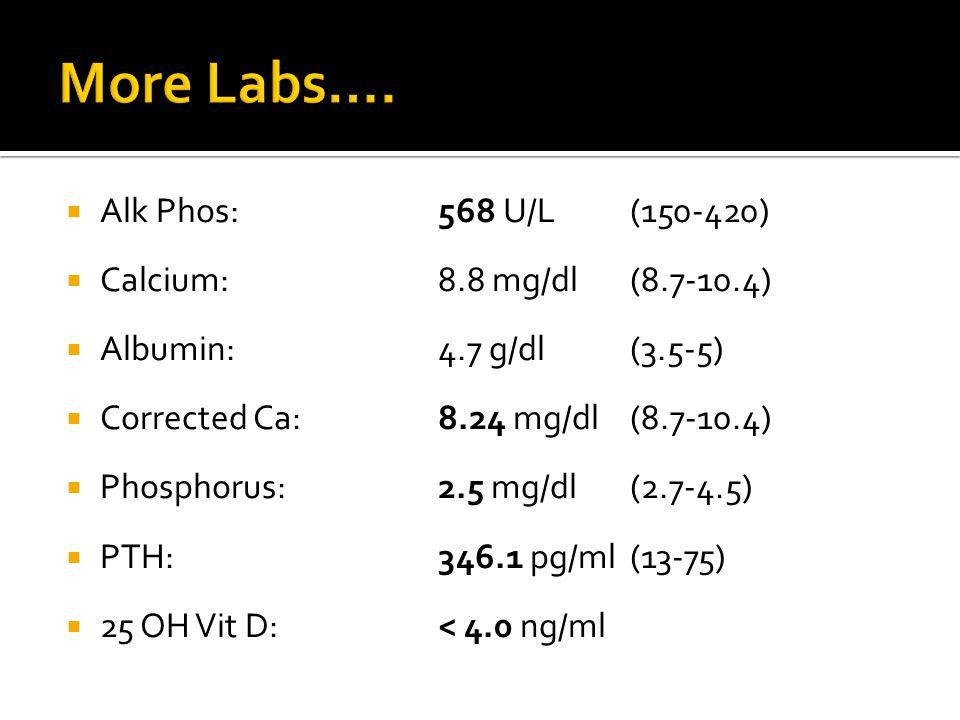 Alk Phos: 568 U/L(150-420)  Calcium:8.8 mg/dl(8.7-10.4)  Albumin:4.7 g/dl(3.5-5)  Corrected Ca:8.24 mg/dl(8.7-10.4)  Phosphorus:2.5 mg/dl (2.7-4