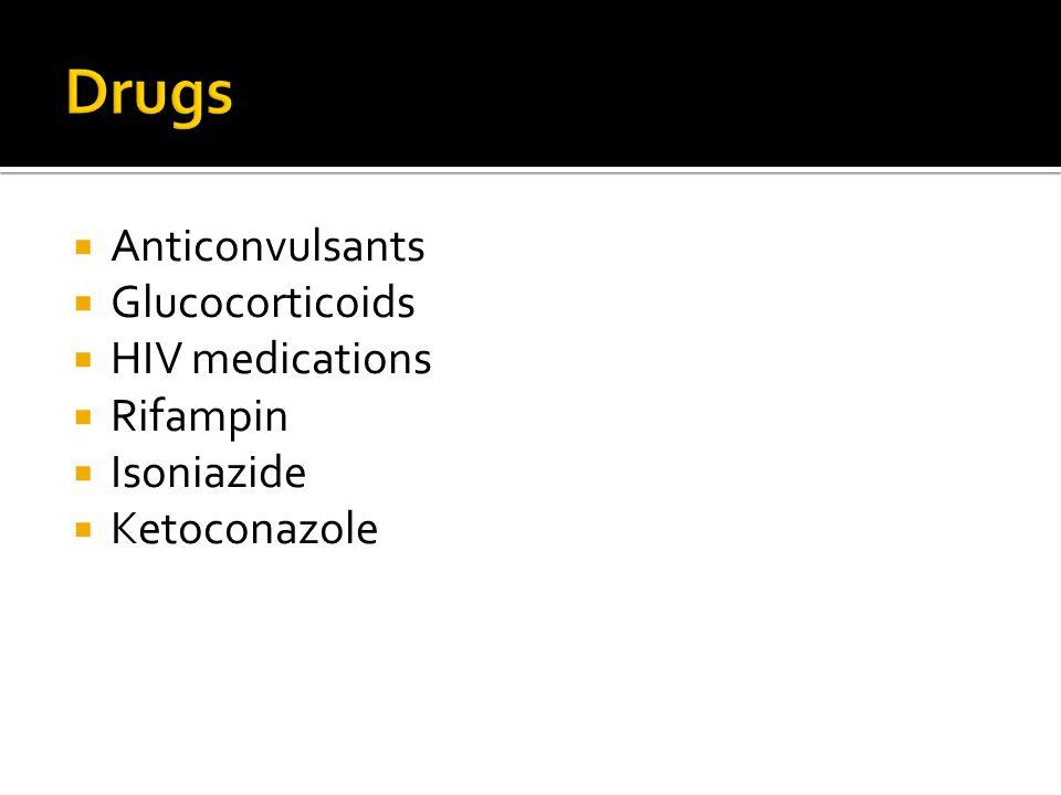  Anticonvulsants  Glucocorticoids  HIV medications  Rifampin  Isoniazide  Ketoconazole