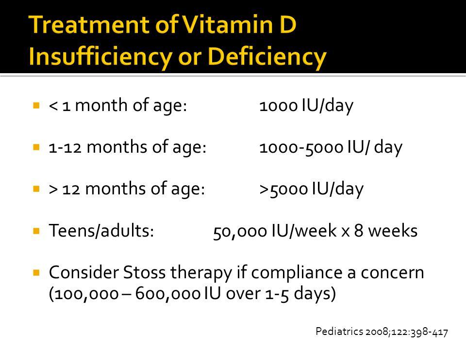  < 1 month of age:1000 IU/day  1-12 months of age:1000-5000 IU/ day  > 12 months of age:>5000 IU/day  Teens/adults:50,ooo IU/week x 8 weeks  Cons