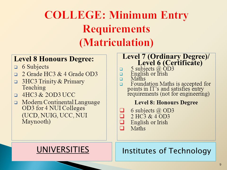 UNIVERSITIES Institutes of Technology Level 8 Honours Degree:  6 Subjects  2 Grade HC3 & 4 Grade OD3  3HC3 Trinity & Primary Teaching  4HC3 & 2OD3 UCC  Modern Continental Language OD3 for 4 NUI Colleges (UCD, NUIG, UCC, NUI Maynooth) Level 7 (Ordinary Degree)/ Level 6 (Certificate)  5 subjects @ OD3  English or Irish  Maths  Foundation Maths is accepted for points in IT's and satisfies entry requirements (not for engineering) Level 8: Honours Degree  6 subjects @ OD3  2 HC3 & 4 OD3  English or Irish  Maths 9