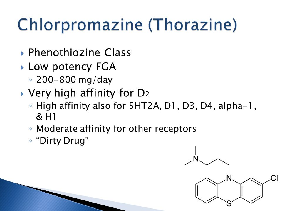  Phenothiozine Class  Low potency FGA ◦ 200-800 mg/day  Very high affinity for D 2 ◦ High affinity also for 5HT2A, D1, D3, D4, alpha-1, & H1 ◦ Moderate affinity for other receptors ◦ Dirty Drug