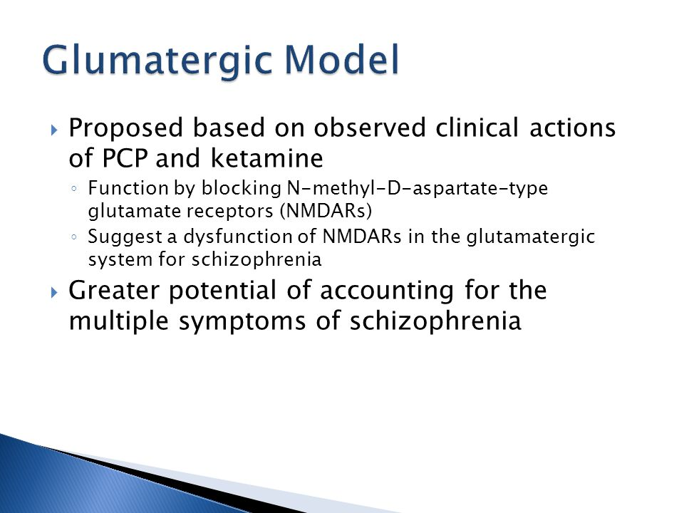  Proposed based on observed clinical actions of PCP and ketamine ◦ Function by blocking N-methyl-D-aspartate-type glutamate receptors (NMDARs) ◦ Suggest a dysfunction of NMDARs in the glutamatergic system for schizophrenia  Greater potential of accounting for the multiple symptoms of schizophrenia
