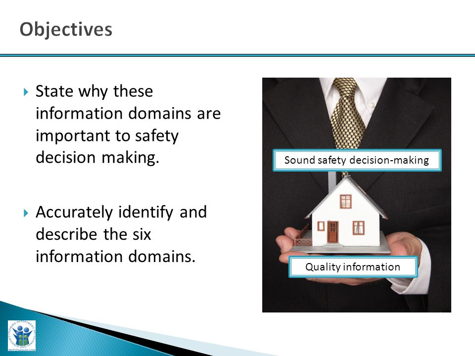  State why these information domains are important to safety decision making. Quality information Sound safety decision-making  Accurately identify