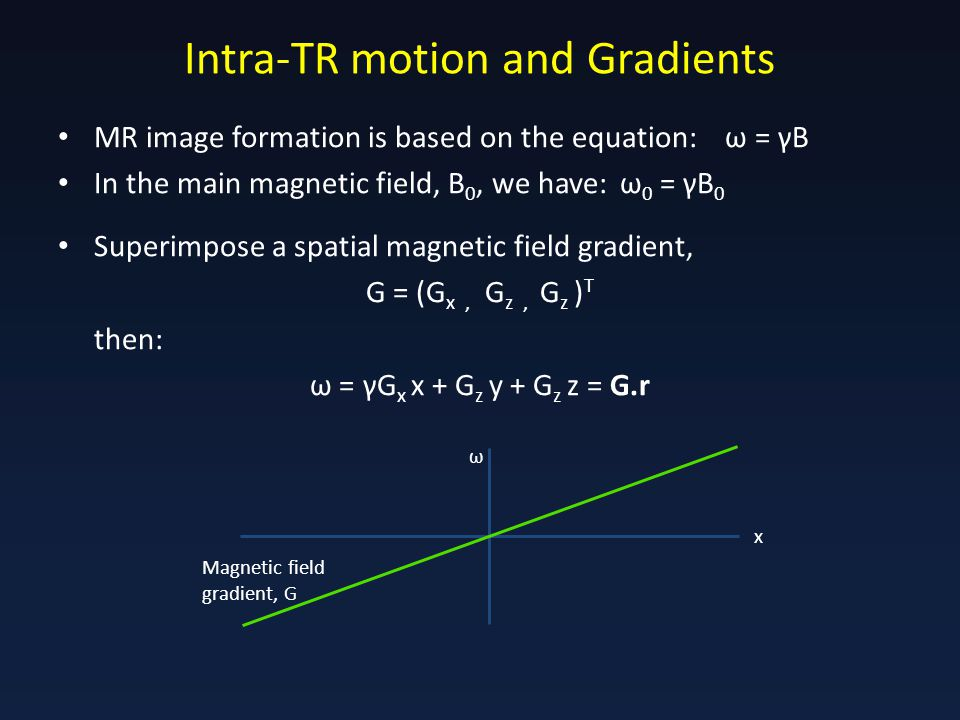 Intra-TR motion and Gradients MR image formation is based on the equation: ω = γB In the main magnetic field, B 0, we have: ω 0 = γB 0 Superimpose a spatial magnetic field gradient, G = (G x, G z, G z ) T then: ω = γG x x + G z y + G z z = G.r Magnetic field gradient, G x ω