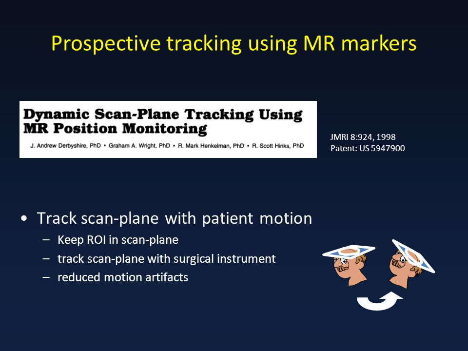 Prospective tracking using MR markers JMRI 8:924, 1998 Patent: US 5947900 Track scan-plane with patient motion –Keep ROI in scan-plane –track scan-plane with surgical instrument –reduced motion artifacts