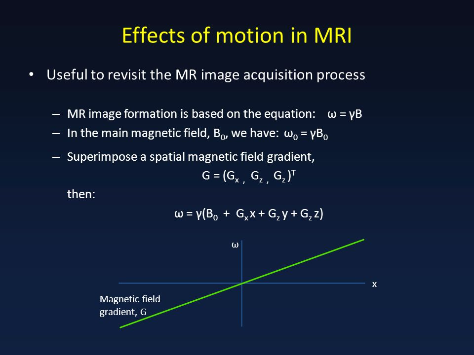 Effects of motion in MRI Useful to revisit the MR image acquisition process – MR image formation is based on the equation: ω = γB – In the main magnetic field, B 0, we have: ω 0 = γB 0 – Superimpose a spatial magnetic field gradient, G = (G x, G z, G z ) T then: ω = γ(B 0 + G x x + G z y + G z z) Magnetic field gradient, G x ω
