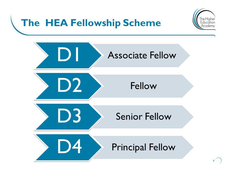 The HEA Fellowship Scheme 4 D1 Associate Fellow D2 Fellow D3 Senior Fellow D4 Principal Fellow