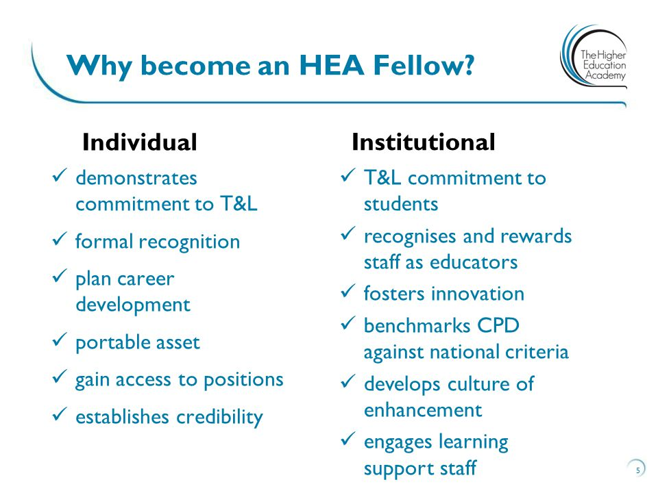 demonstrates commitment to T&L formal recognition plan career development portable asset gain access to positions establishes credibility 5 Why become an HEA Fellow.