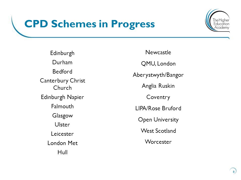 8 CPD Schemes in Progress 8 Edinburgh Durham Bedford Canterbury Christ Church Edinburgh Napier Falmouth Glasgow Ulster Leicester London Met Hull Newcastle QMU, London Aberystwyth/Bangor Anglia Ruskin Coventry LIPA/Rose Bruford Open University West Scotland Worcester