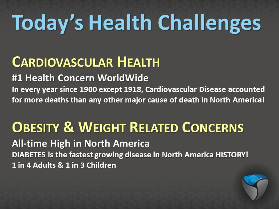 C ARDIOVASCULAR H EALTH #1 Health Concern WorldWide In every year since 1900 except 1918, Cardiovascular Disease accounted for more deaths than any ot