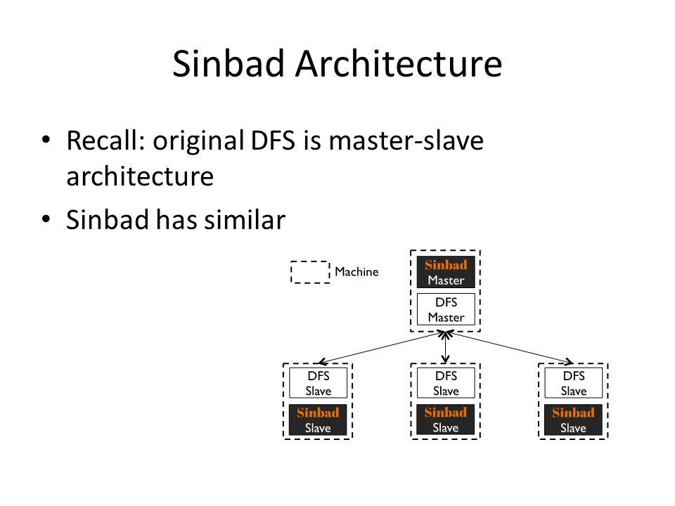 Sinbad Architecture Recall: original DFS is master-slave architecture Sinbad has similar