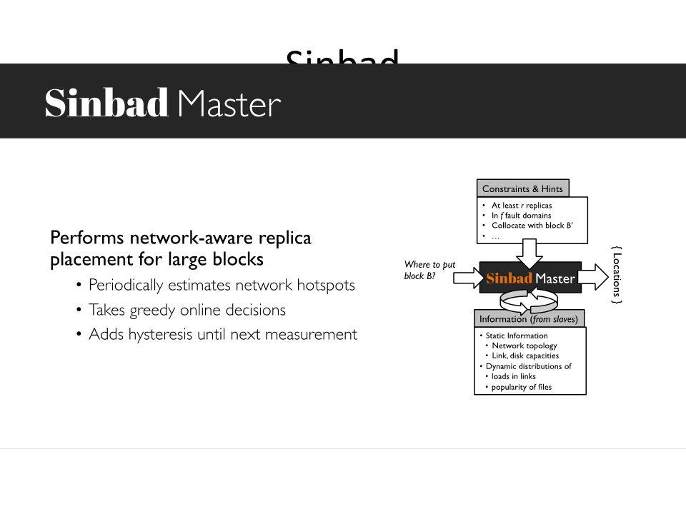 Sinbad Determine placement for block replica – Place replicas to avoid hotspots – Constraints: 3 copies Spread across 2 fault domains Benefits – Faste