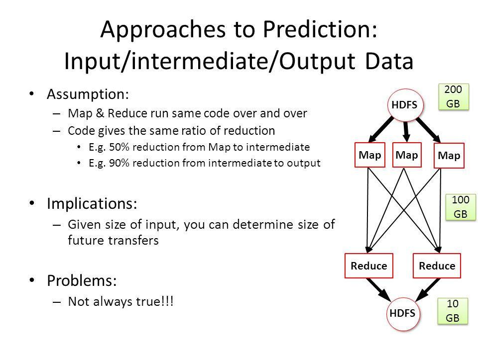 Approaches to Prediction: Input/intermediate/Output Data Assumption: – Map & Reduce run same code over and over – Code gives the same ratio of reducti