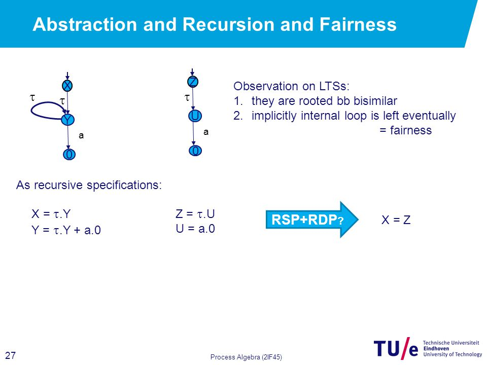 27 Abstraction and Recursion and Fairness Process Algebra (2IF45) X Y  a 0  X = .Y Y = .Y + a.0 Z U  a 0 Z = .U U = a.0 RSP+RDP .