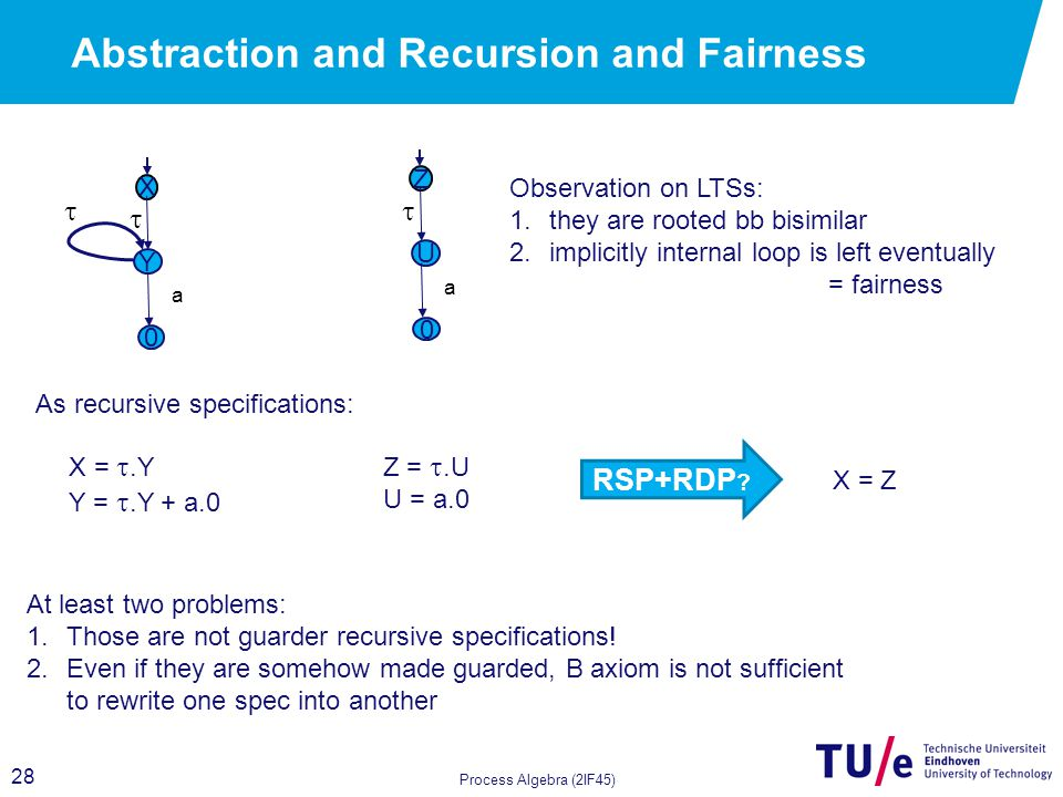 28 Abstraction and Recursion and Fairness Process Algebra (2IF45) X Y  a 0  X = .Y Y = .Y + a.0 Z U  a 0 Z = .U U = a.0 RSP+RDP .