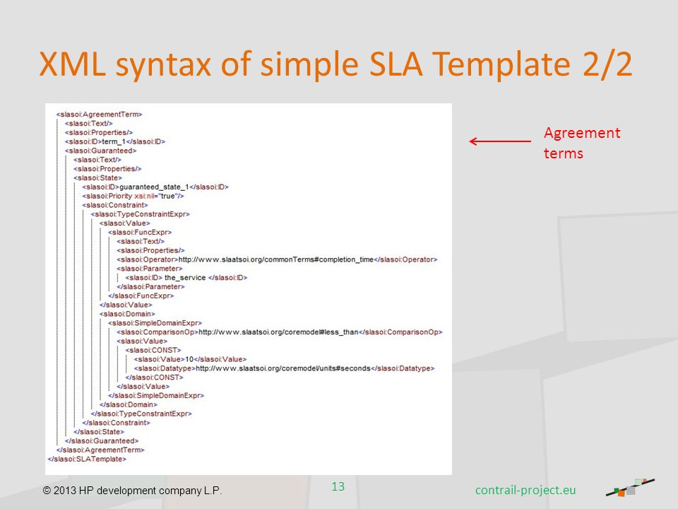 © 2013 HP development company L.P. XML syntax of simple SLA Template 2/2 13 contrail-project.eu Agreement terms