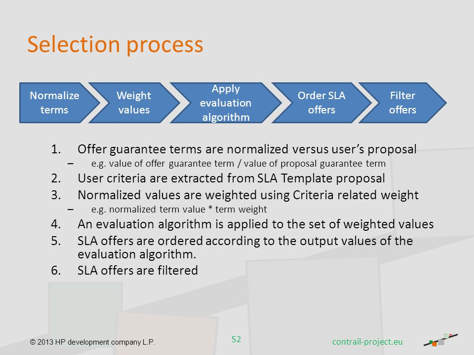 © 2013 HP development company L.P. Selection process 1.Offer guarantee terms are normalized versus user's proposal – e.g. value of offer guarantee ter
