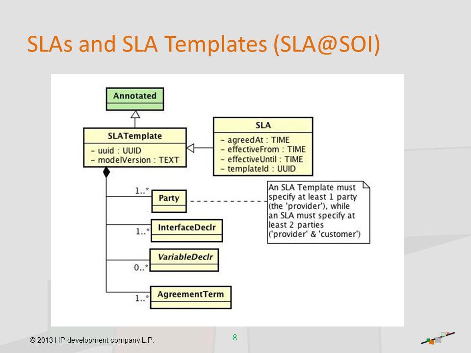 © 2013 HP development company L.P. SLAs and SLA Templates (SLA@SOI) 8